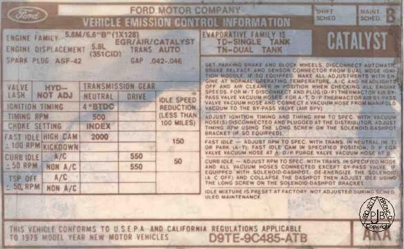 Catalyst on 1978 Ford 351m Vacuum Diagram